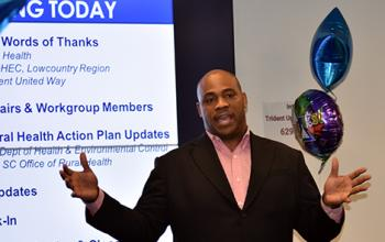 "Anton Gunn (MUSC) welcomes and thanks the workgroup members. He encouraged them now it is time to  ""Execute and Dominate"""