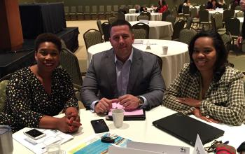 L to R: Kellye McKenzie, Director of Health at Trident United Way; Forrest Alton, President at 1,000 Feathers; Bethany Johnson-Javois, CEO of St. Louis Integrated Health Network
